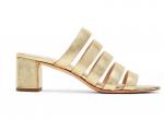 Loeffler Randall Finley Gold Block Heel Slide Sandal