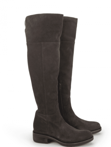 Alberto Fermani Suede Anthracite Nisa Over the Knee Lug Sole Boot