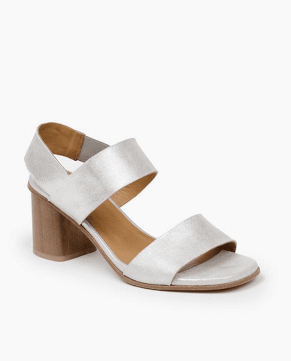 8e3b9ae3f Coclico Bask Silver Block Heel Sandal - Tlins Shoes