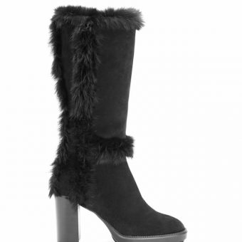 Aquatalia Imelda Suede Real Fur Heel Bootie Waterproof